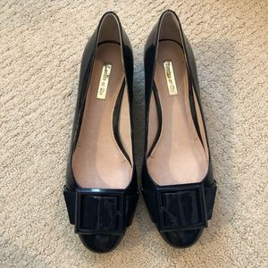 Louise Et Cie Navy Patent Buckle Pump in size 8